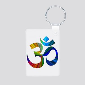 Om 2 Aluminum Photo Keychain