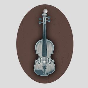 Blue Violin Ornament (Oval)