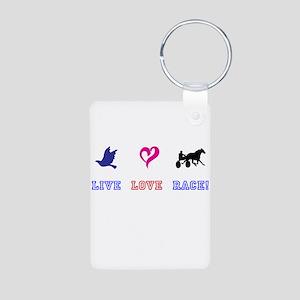 Live Love Race Aluminum Photo Keychain