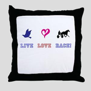 Live Love Race Throw Pillow