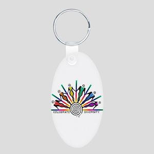 Celebrate Diversity Aluminum Oval Keychain
