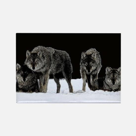 Dark Wolves Rectangle Magnet