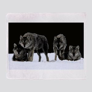 Dark Wolves Throw Blanket