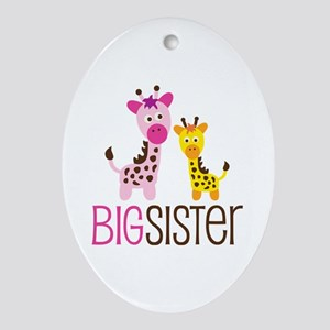 Giraffe Big Sister Ornament (Oval)