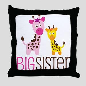 Giraffe Big Sister Throw Pillow