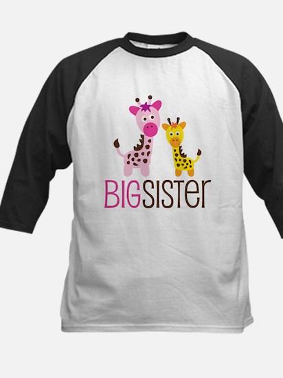 Giraffe Big Sister Kids Baseball Jersey