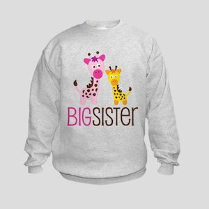 Giraffe Big Sister Kids Sweatshirt
