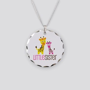 Giraffe Little Sister Necklace Circle Charm