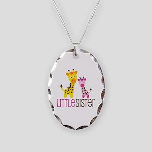 Giraffe Little Sister Necklace Oval Charm