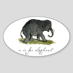 E is for Elephant Sticker (Oval)