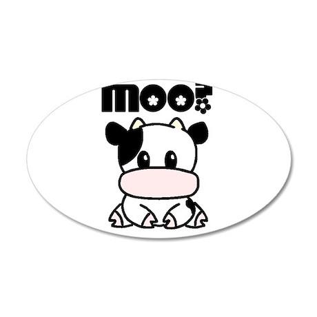 Cute Moo? 20x12 Oval Wall Decal