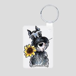 Sunflower Schnauzer Aluminum Photo Keychain