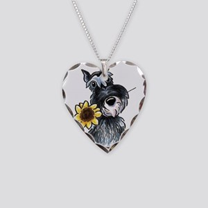 Sunflower Schnauzer Necklace Heart Charm