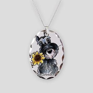 Sunflower Schnauzer Necklace Oval Charm