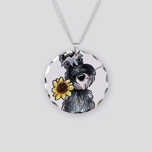 Sunflower Schnauzer Necklace Circle Charm