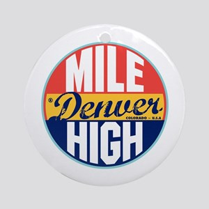 Denver Vintage Label Ornament (Round)