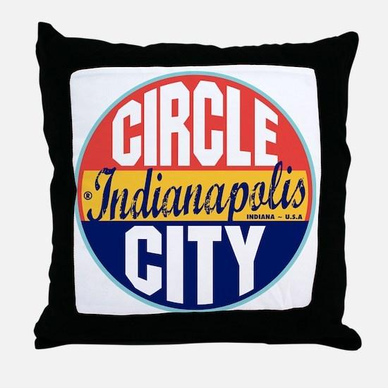 Indianapolis Vintage Label Throw Pillow