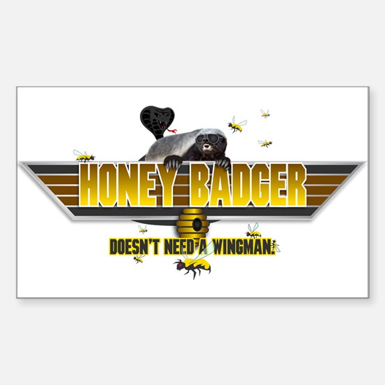 Honey Badger Top Gun Wingman Sticker (Rectangle)