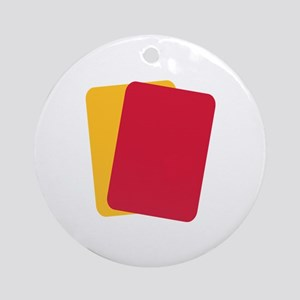 Referee red yellow card Ornament (Round)