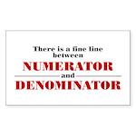 Numerator and Denominator Sticker (Rectangle)