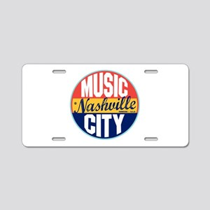Nashville Vintage Label Aluminum License Plate