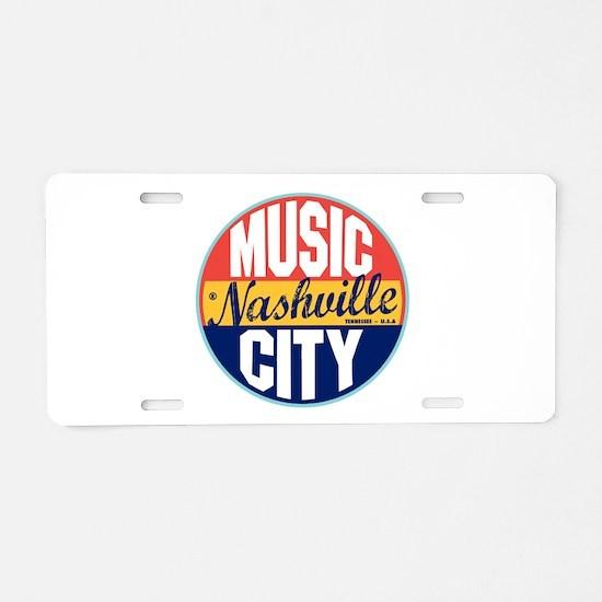 Nashville Vintage Label Aluminum License Plate
