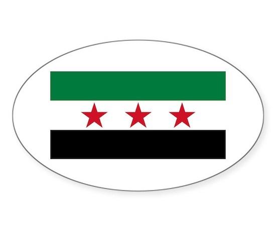 Pre 1963 flag of syria sticker oval