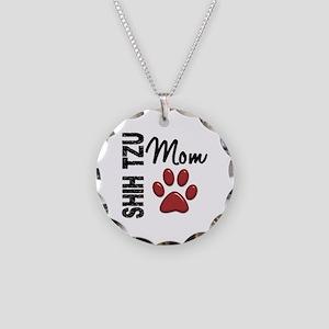 Shih Tzu Mom 2 Necklace Circle Charm