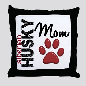 Siberian Husky Mom 2 Throw Pillow