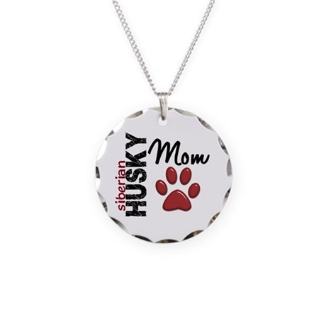 Siberian Husky Mom 2 Necklace Circle Charm