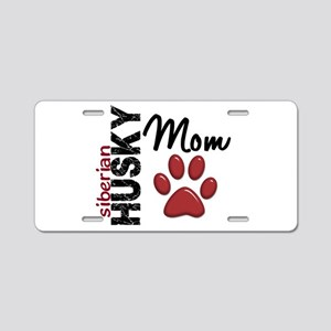 Siberian Husky Mom 2 Aluminum License Plate