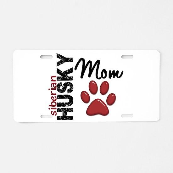 Siberian Husky Mom 2 Aluminum License Plate