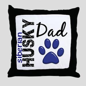 Siberian Husky Dad 2 Throw Pillow