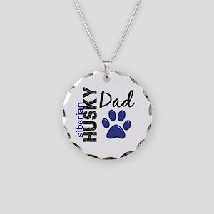 Siberian Husky Dad 2 Necklace Circle Charm