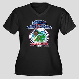 """Conyers"" Women's Plus Size V-Neck Dark T-Shirt"