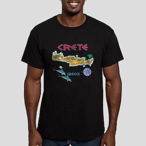 Crete Map Men's Fitted T-Shirt (dark)