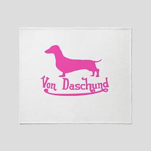 Von Daschund Pink Throw Blanket