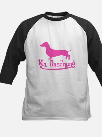 Von Daschund Pink Kids Baseball Jersey