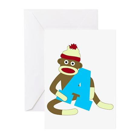 Sock Monkey Monogram Boy A Greeting Cards Pk of 10