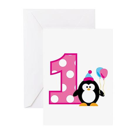 Girl Penguin 1st Birthday Greeting Cards (Pk of 10