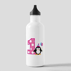 Girl Penguin 1st Birthday Stainless Water Bottle 1