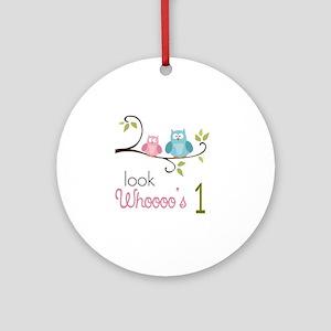 Custom Owl Birthday Ornament (Round)