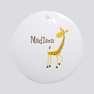 Custom Name Giraffe Ornament (Round)