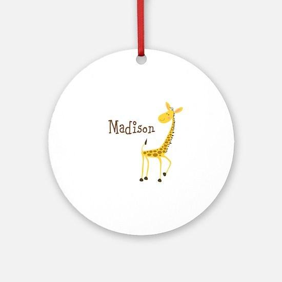 Custom Name Giraffe Ornament (Round)