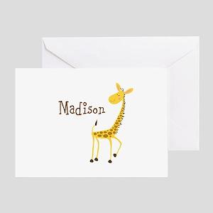 Custom Name Giraffe Greeting Card