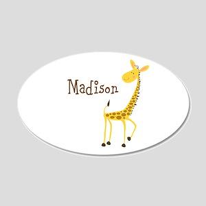 Custom Name Giraffe 22x14 Oval Wall Peel