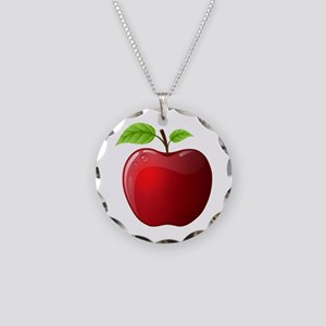 Teachers Apple Necklace Circle Charm
