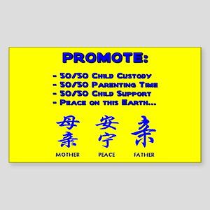 Promote 50/50 Oriental Blue Rectangle Sticker