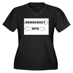 Democracy vs WTO Women's Plus Size V-Neck Dark T-S
