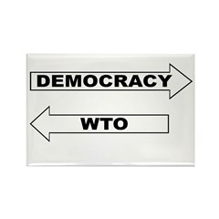 Democracy vs WTO Rectangle Magnet (10 pack)